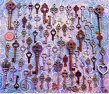 62 Antique Vtg Old Look Bronze Skeleton Keys Lot Pendant Heart Jewelry EG16