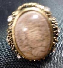 """~Vintage 1.25"""" Lilac Plastic Bead Ring--Rhinestones Adjustable"""