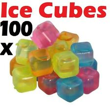 100 x Plastic Reusable Ice Cubes Coloured Party Drink Cooler Cool Freeze Blocks