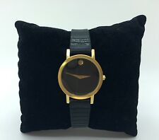 100% Authentic Ladies Movado Classic Museum Watch Black Face & Leather Strap