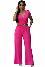 Abito tuta aperto Nudo Scollo ballo aderente Neon Jumpsuit Belt Party Dress M