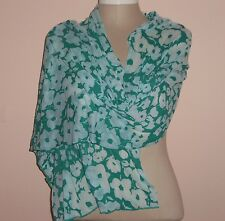 Turquoise Green Viscose Flower Floral Very Soft Large Scarf Wrap