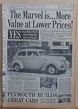 1938 newspaper ad for Plymouth - 1939  Roadking Touring Sedan, More Value