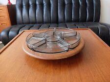 Digsmed DANISH MODERN teak in legno con 6 piatti in vetro 60er Lazy Susan 60s Denmark