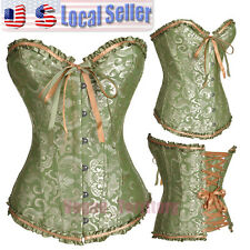 Sexy Steampunk Corset Burlesque Basque lingerie Fancy Bustier Lace up Boned S-6X