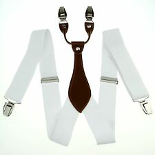 White Men's Adjustable Clip-on Unisex Suspenders Solid Women's Braces BD606