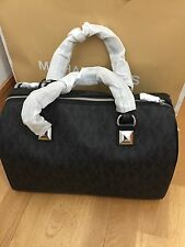 Michael Kors MK Signature PVC Large Satchel Grayson Tote Bag Black Crossbody