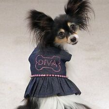 Casual Canine Dog Dress Denim Sundress DIVA Rhinestones XS X-SMALL