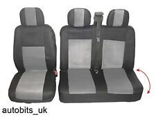 2+1 GREY SOFT & COMFORT FABRIC SEAT COVERS FOR VOLKSWAGEN TRANSPORTER T5 IN BAG