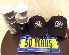 Lot NAPA Filters 50 Year Anniversary 2 Baseball Caps 6 Hard Plastic Cups License