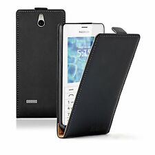 Ultra Slim BLACK Leather Vertical case cover for phone Nokia 515 / Dual SIM