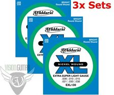 D'ADDARIO EXL130 Guitar Strings 8-38 Super Light Gauge - 3 Full Sets!