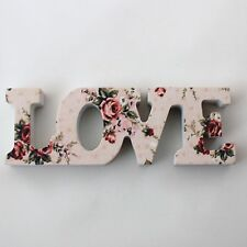 Small Vintage Floral Lady Antoinette Wooden Love Word Block Letters Sign Plaque