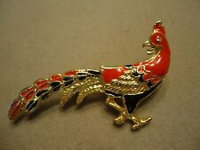 Vintage Red Black Enamel clear Rhinestone Peacock Pheasant Bird Brooch Pin