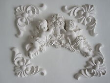 SHABBY CHIC CHERUBS AND FLOWERS/FOUR DECORATIVE REAGIL /FURNITURE/  MOULDINGS