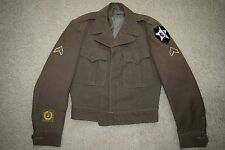 Vtg 40s WW2 1946 Enlisted OD Wool Field IKE Jacket 2nd Infantry CPL MUC patch 36
