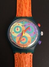 Swatch chronograph date SCL 102 Sound 1993 Originals cuero Leather nuevo New!