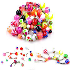 50Pcs Candy Colors Ball Belly Button Ring Navel Rings Bar Body Piercing Jewelry