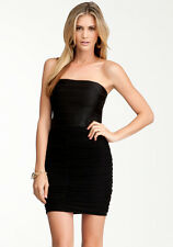 NWT Bebe black strapless banded ruched mesh sexy bodycon top dress XL 10 12 club