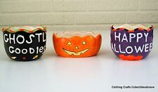 Halloween Candy Dish Bowls Set of 3 Pumpkin Happy Halloween Ghostly Goodies NWT