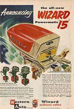 Original 1957 Western Auto Wizard Boat Motor Magazine Ad