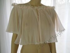 S vtg VANITY FAIR lingerie PINK accordion CRYSTAL pleat bed JACKET nylon chiffon