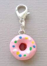1 pc Pink Doughnut Clip On Charm with Lobster Clasp Claw Fit for Link Chain C164