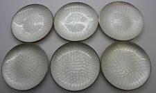 SET OF 6 Michelsen Denmark Sterling Silver White Enamel Tray Plate Signed EJ