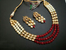 Indian Traditional Kundan Red Pearls Bead Fashion Necklace Earring Jewelry Set