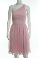 Donna Morgan Pale Pink Silk Chiffon One Shoulder Bridesmaid Dress Size 6 JG330
