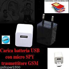 CARICA BATTERIA USB CON MICROSPIA GSM AMBIENTALE CIMICE NUOVO MODELLO SPY AUDIO