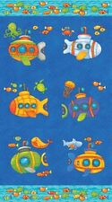 Baby Zoom Submarine Cotton Quilt fabric by Northcott Panel Ocean Fish Sea
