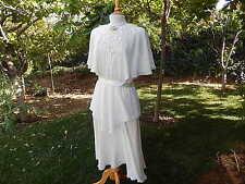 Vintage Ursula Swizerland Solid Ivory White Fancy Wedding Prom Polyester Dress