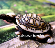 Cool Longevity Symbol Turtle Embossed Yak Bone Pendant Adjustable Cord Necklace