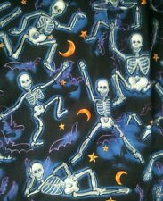Halloween funny skeleton v-neck scrubs uniform top dental medical nurse vet M