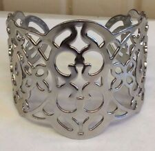 Silver Color Large Wide Intricate Detailed Bracelet