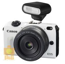 NEW CANON EOS M2 CAMERA WHITE + EF-M 22mm +  FLASH 90EX BUNDLE