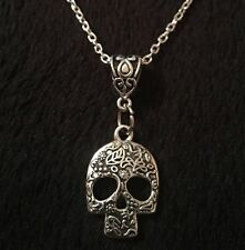 "Sugar Skull Necklace day of the dead *UK* silver CHAIN 17"" Mexican Skull gothic"