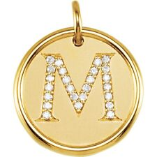 POSH MOMMY DIAMOND INITIAL DISC PENDANT Letter M .25 Ct. 14K Yellow Gold 17.25mm