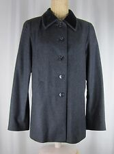 Agnes B. Paris France Charcoal Gray Black Wool Velvet Collar Blazer US M EU 3