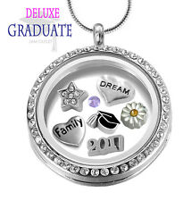2017 CRYSTAL GRADUATION Memory Locket Pendant, Graduate Floating Charms Necklace
