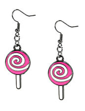 Fashion Earrings Christmas Candy Cane Lollipop Pink Swirl Dangle Enamel Silver