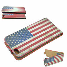 US Flag Leather Skin Vertical Flip Cover Case Pouch For Apple iPhone 6 Plus 5.5""