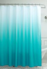 NEW Turquoise Ombre Waffle Weave Shower Curtain W/ Shower Rings Bathroom Decor