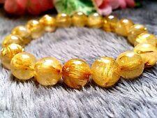 12MM Rare 6A Natural Titin Golden Rutilated Quartz Round Beads Bracelet BL9331