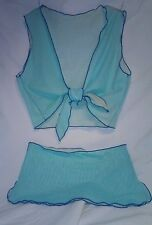 2pc Reversible Pastel Colors Micro Mesh 1960s Wrap Top Exotic Stripper Outfit