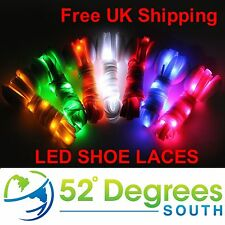 1 x Pair LED Flashing Light Up Shoelaces Glow in the Dark Colour RED