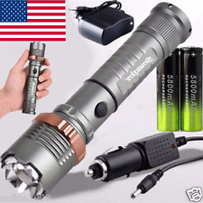 Tactical Police CREE XML T6 9000LM LED Zoomable Flashlight 18650 Battery