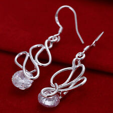 925 Plated Silver Long Twisted Wire Round White Zircon Dangle Drop Earring Hook