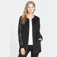 SZ SML Eileen Fisher Round Neck Long Jacket Leather Sleeves Sheared Alpaca $883
